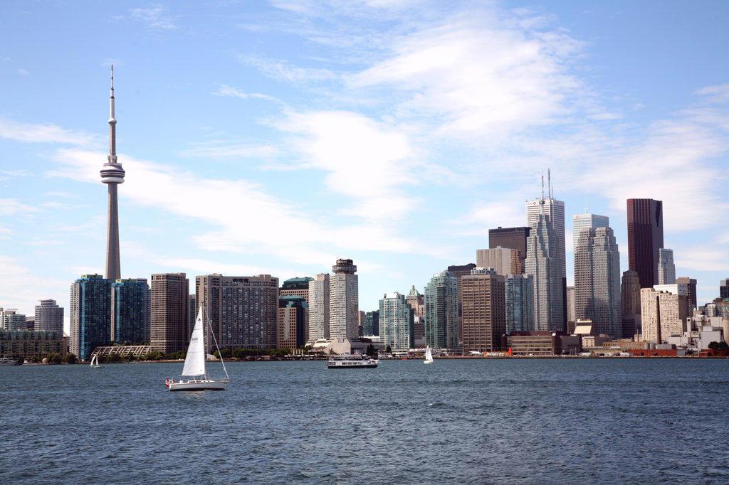 Stock Photo: 4017-3074 Buildings at the waterfront, Lake Ontario, Toronto, Ontario, Canada