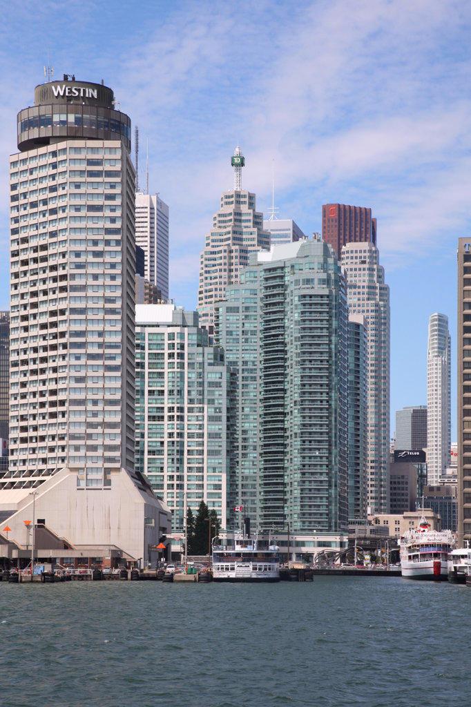 Buildings at the waterfront, Lake Ontario, Toronto, Ontario, Canada : Stock Photo
