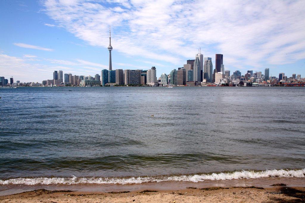 Buildings at the waterfront, Lake Ontario, Toronto Island, Toronto, Ontario, Canada : Stock Photo