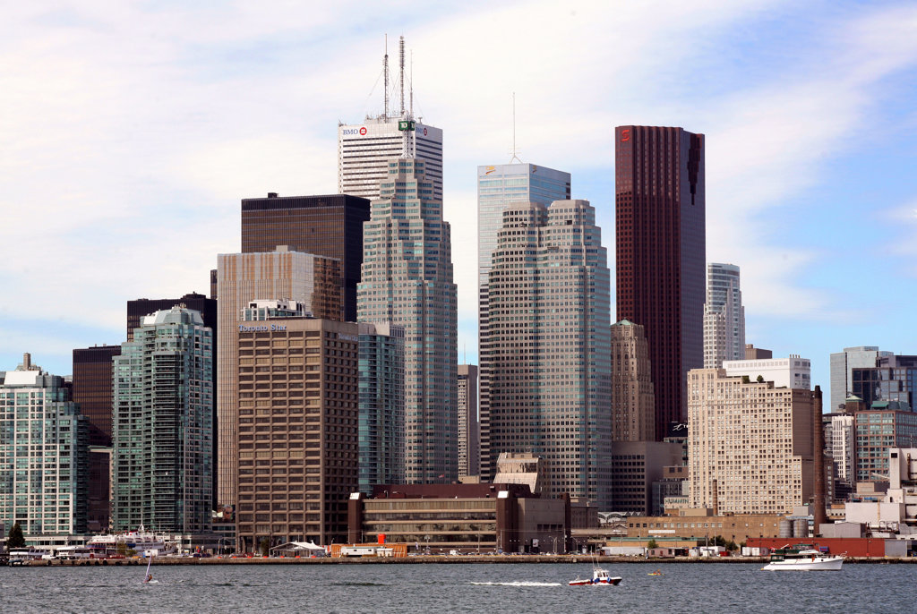 Stock Photo: 4017-3091 Buildings at the waterfront, Lake Ontario, Toronto, Ontario, Canada