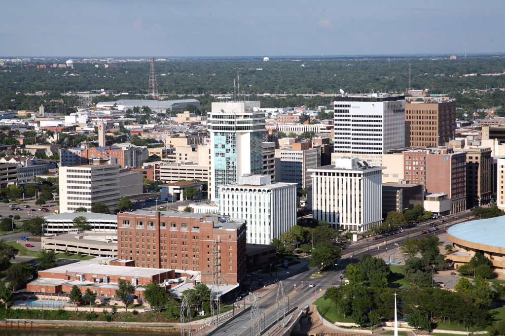 Stock Photo: 4017-3117 Aerial view of buildings in a city, Broadview Hotel, Wichita, Kansas, USA