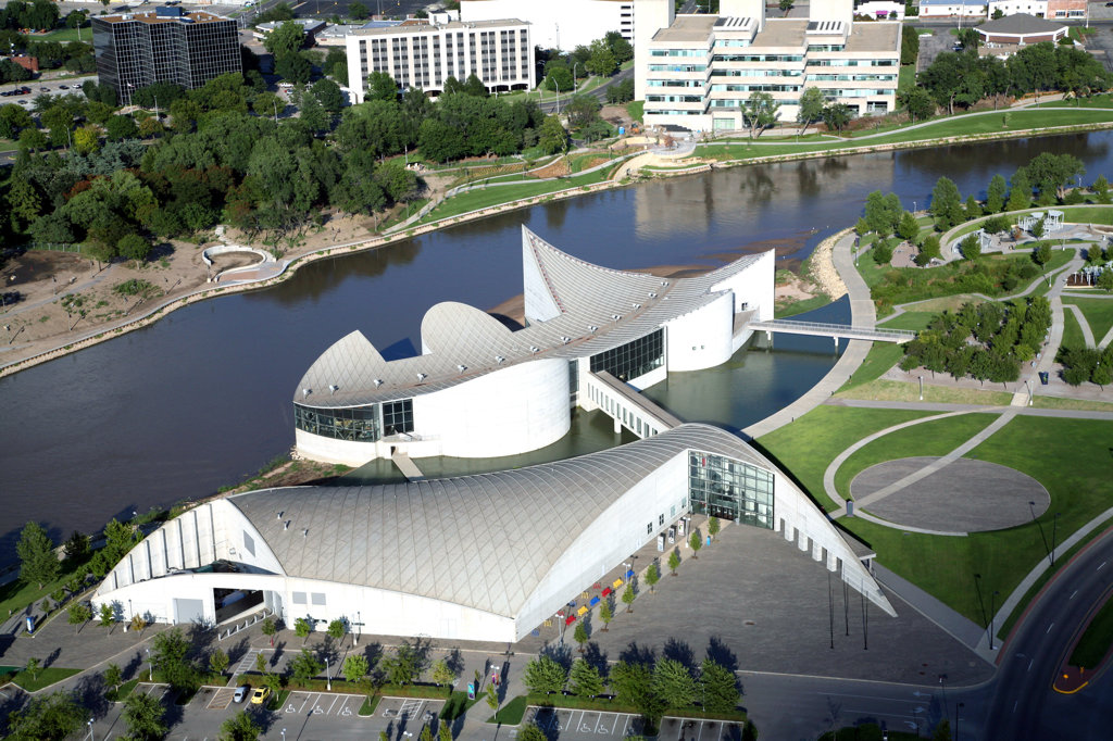Stock Photo: 4017-3118 Aerial view of science museum, Exploration Place, Arkansas River, Wichita, Kansas, USA