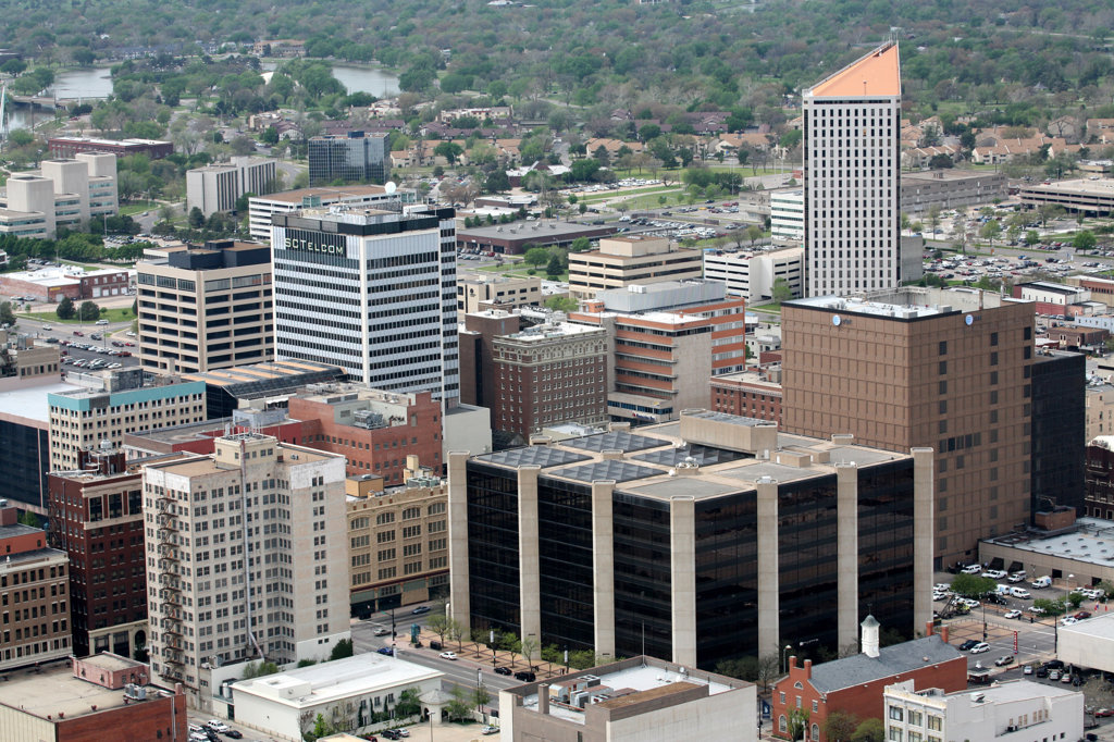 Aerial view of buildings in a city, Oil Trade Center, Wichita, Kansas, USA : Stock Photo