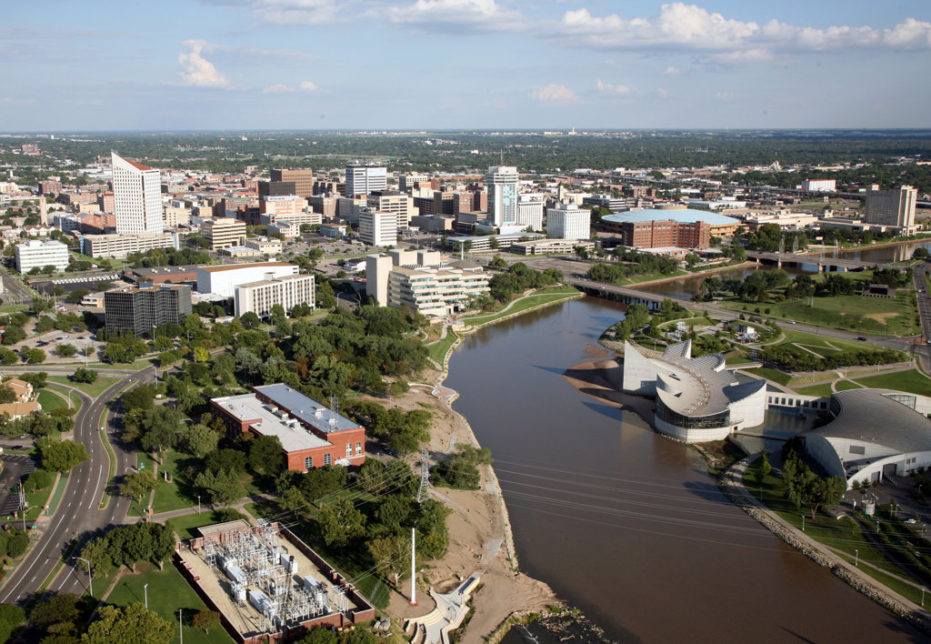 Aerial view of buildings in a city, Exploration Place, Arkansas River, Wichita, Kansas, USA : Stock Photo