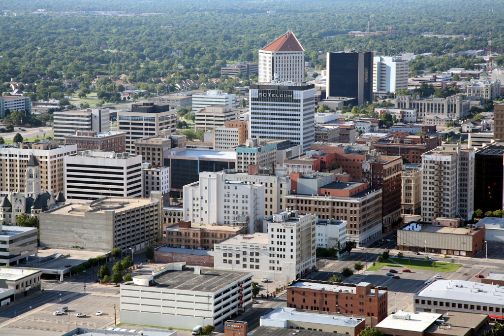 Aerial view of buildings in a city, Wichita, Kansas, USA : Stock Photo