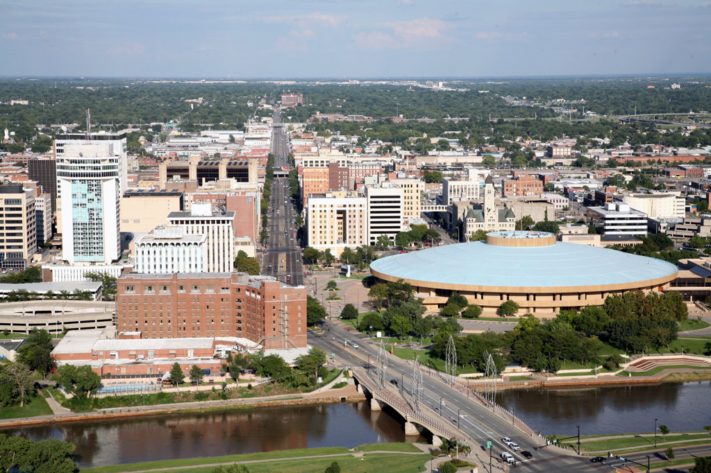 Stock Photo: 4017-3135 Aerial view of Century II Convention Hall and Arkansas River, Wichita, Kansas, USA