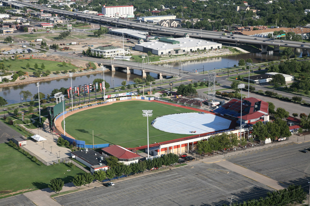 Stock Photo: 4017-3136 Aerial view of a stadium, Lawrence-Dumont Stadium, Arkansas River, Wichita, Kansas, USA