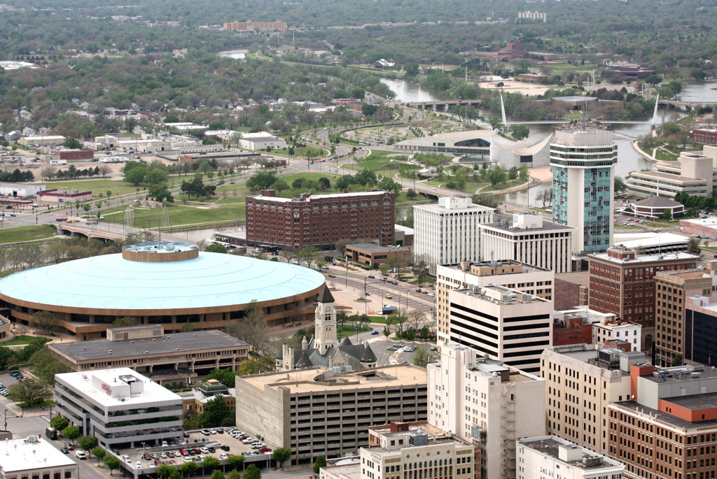Aerial view of buildings in a city, Century II Convention Hall, Wichita, Kansas, USA : Stock Photo
