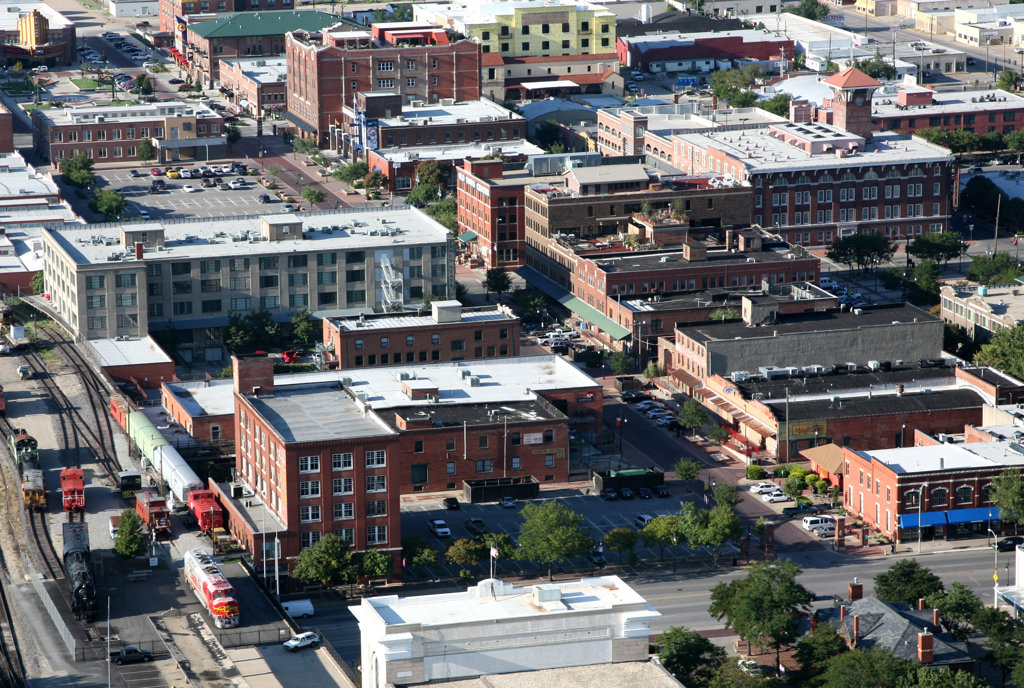 Aerial view of buildings in a city, Great Plains Transportation Museum, Wichita, Kansas, USA : Stock Photo
