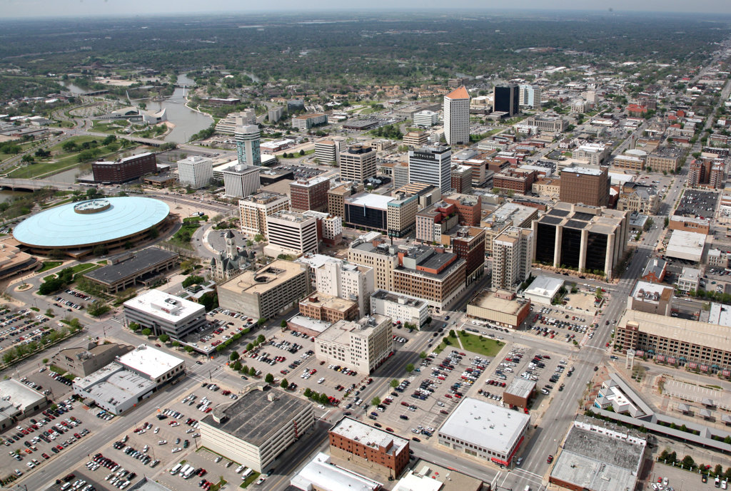 Stock Photo: 4017-3144 Aerial view of buildings in a city, Century II Convention Hall, Wichita, Kansas, USA