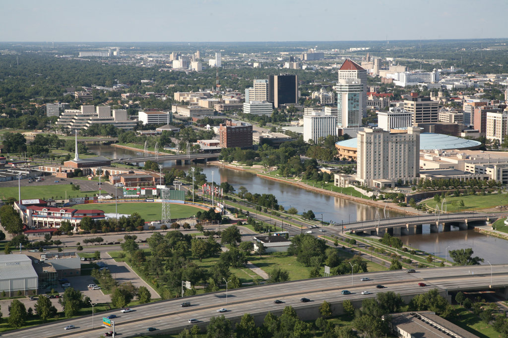Aerial view of buildings in a city, Century II Convention Hall, Arkansas River, Wichita, Kansas, USA : Stock Photo