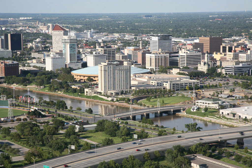 Stock Photo: 4017-3151 Aerial view of buildings in a city, Century II Convention Hall, Lawrence-Dumont Stadium, Arkansas River, Wichita, Kansas, USA