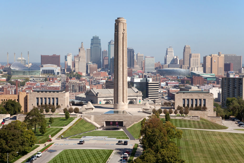 Aerial view of downtown Kansas City with the Liberty Memorial in foreground, Missouri, USA : Stock Photo
