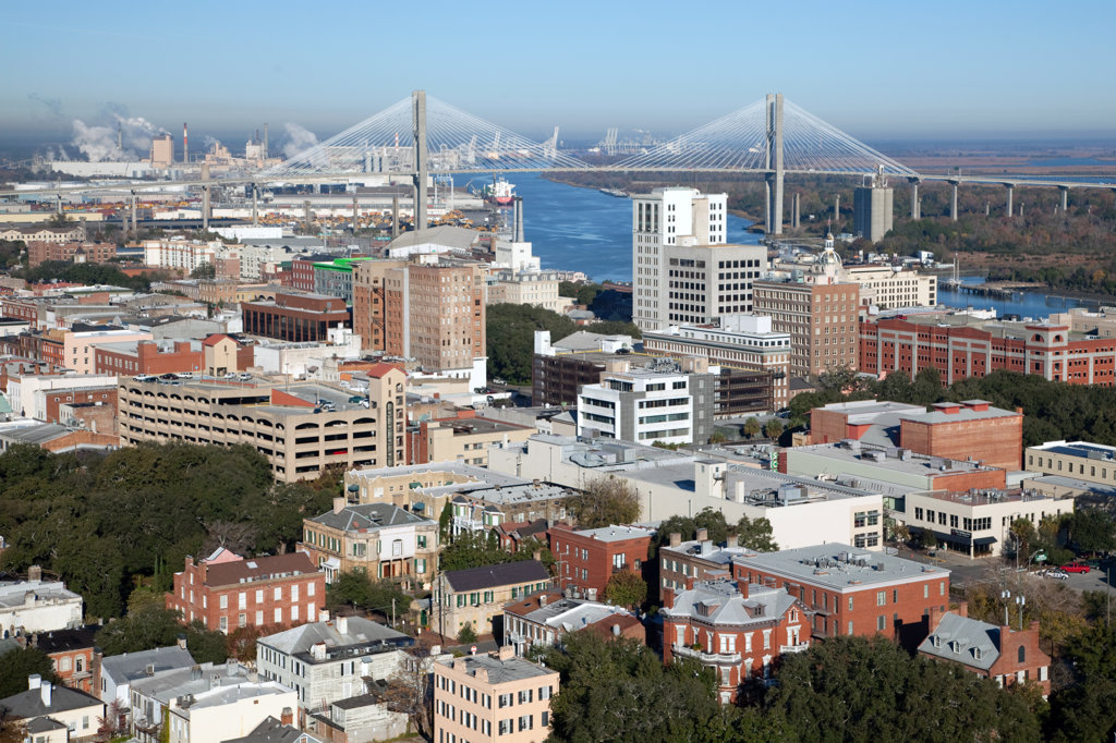 USA, Georgia, Savannah, Aerial of Downtown along Savannah River : Stock Photo