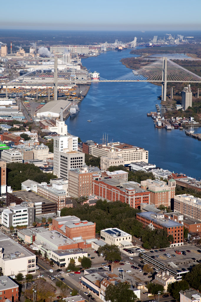 Stock Photo: 4017-3175 USA, Georgia, Savannah, Aerial of Downtown along Savannah River