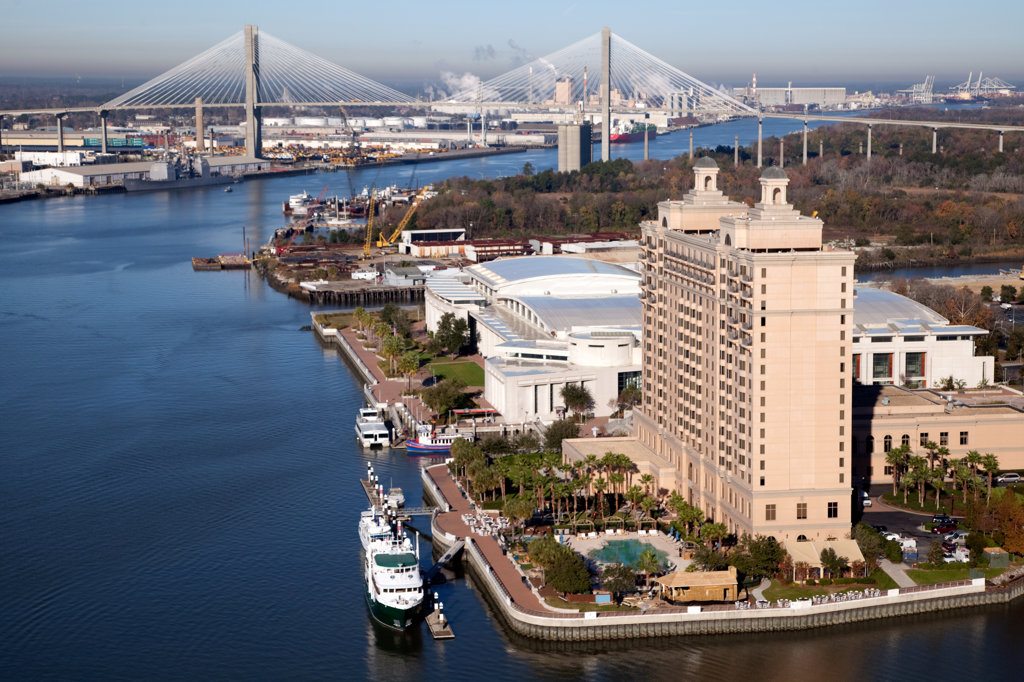 USA, Georgia, Savannah Convention Center and Westin Savannah with Talmadge Memorial Bridge in distance : Stock Photo