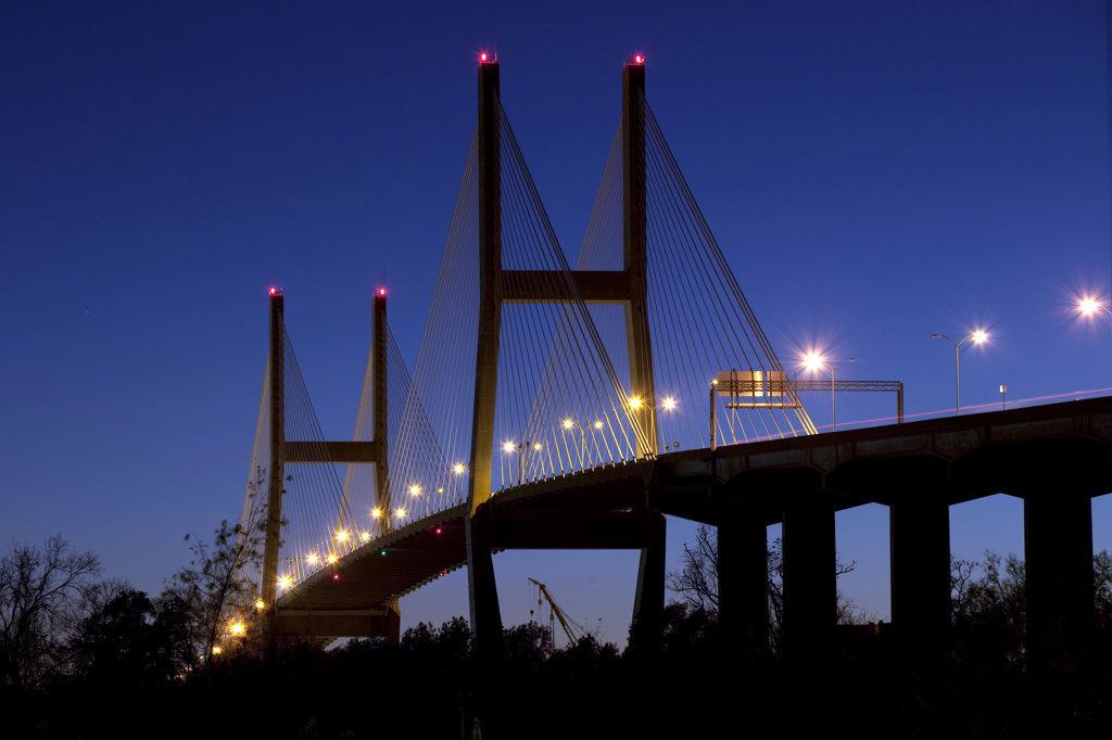 Stock Photo: 4017-3179 USA, Georgia, Savannah, Talmadge Memorial Bridge over Savannah River at dusk