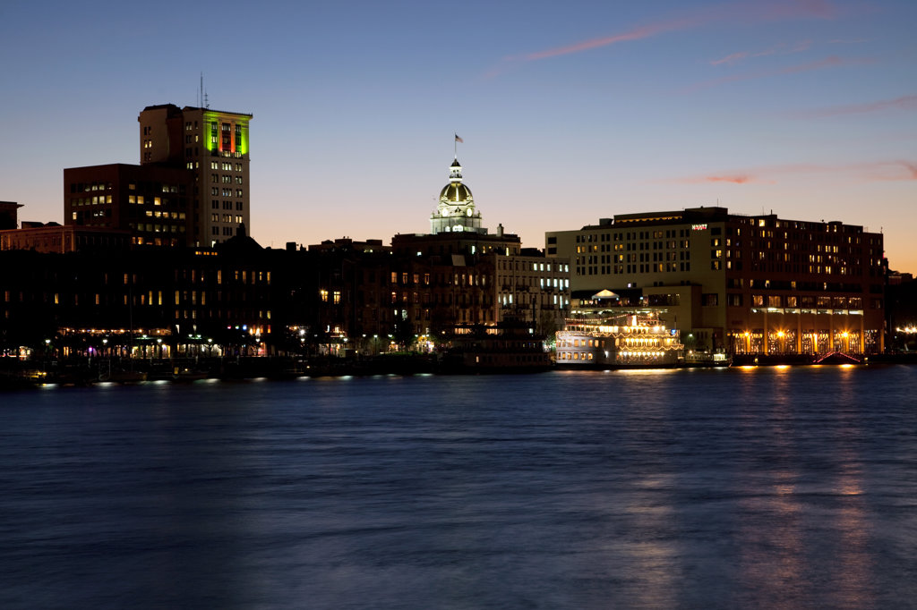 Stock Photo: 4017-3183 USA, Georgia, Savannah, Skyline along historic riverfront at dusk