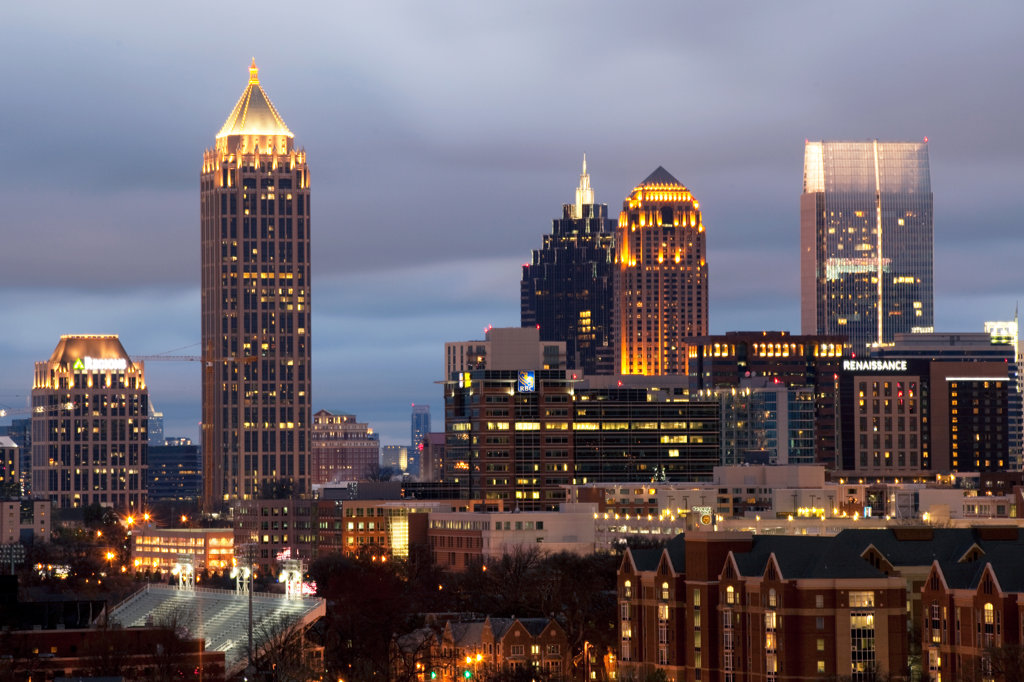 Stock Photo: 4017-3188 Skyline of Midtown Atlanta at dusk, Atlanta, Georgia, USA
