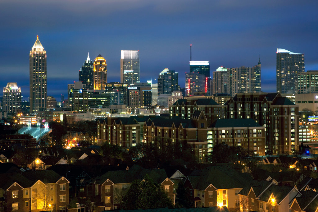 Stock Photo: 4017-3189 Skyline of Midtown Atlanta at dusk, Atlanta, Georgia, USA