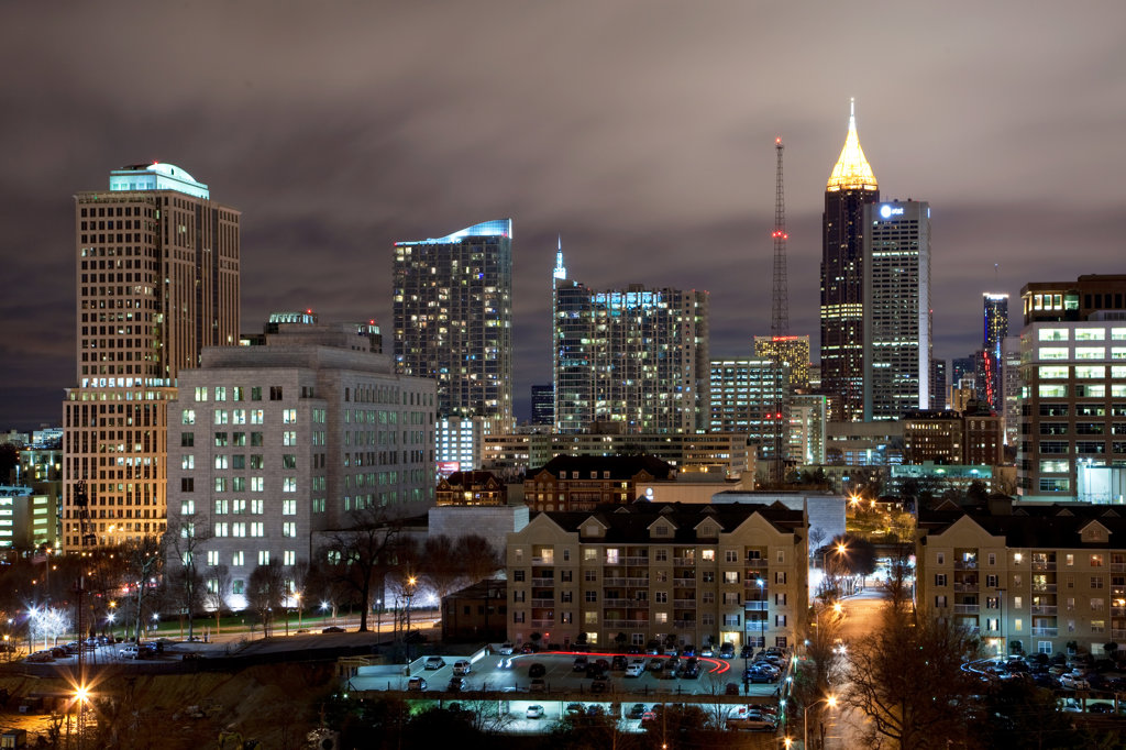 Stock Photo: 4017-3191 Midtown Atlanta skyline at night, Atlanta, Georgia, USA