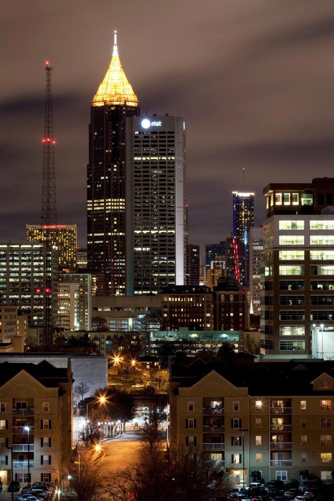 Stock Photo: 4017-3195 Midtown Atlanta skyline at night with downtown in the distance, Atlanta, Georgia, USA