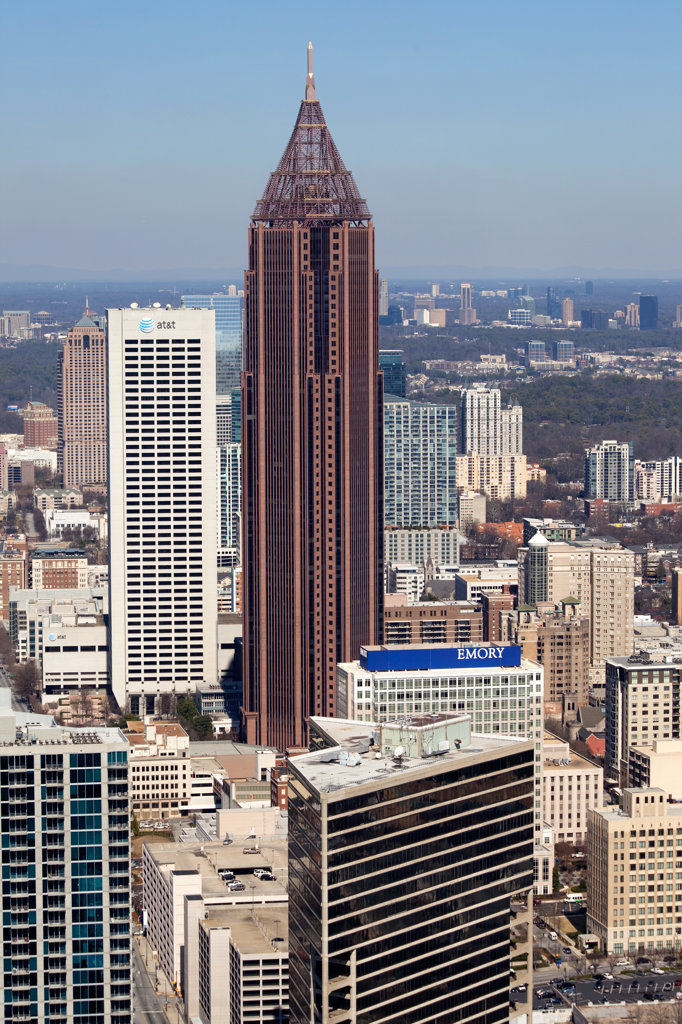 Aerial view of Midtown Atlanta skyline, Atlanta, Georgia, USA : Stock Photo