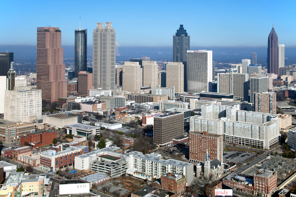 Stock Photo: 4017-3197 Aerial view of the skyline in Downtown Atlanta, Atlanta, Georgia, USA
