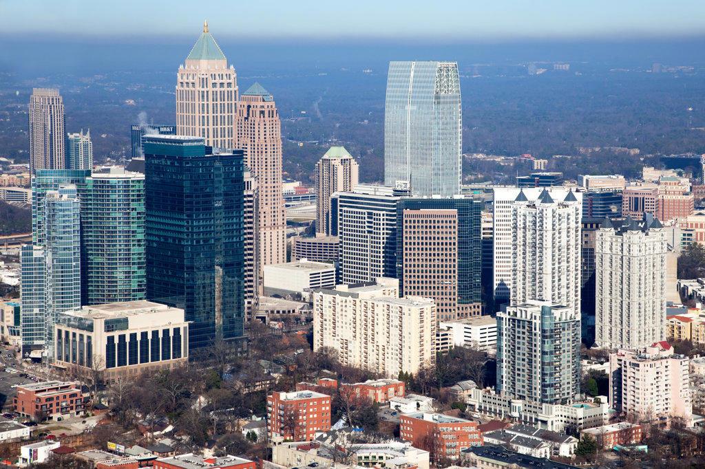 Stock Photo: 4017-3198 Aerial view of the skyline in Downtown Atlanta, Atlanta, Georgia, USA