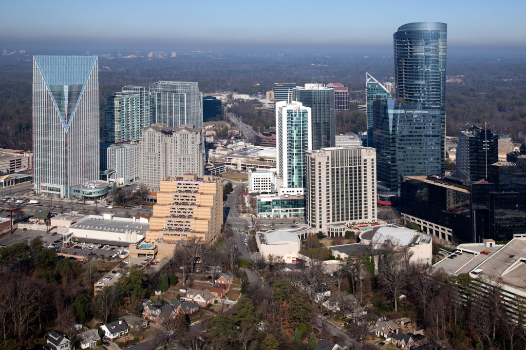 Stock Photo: 4017-3200 Aerial view of the Buckhead skyline, Atlanta, Georgia, USA