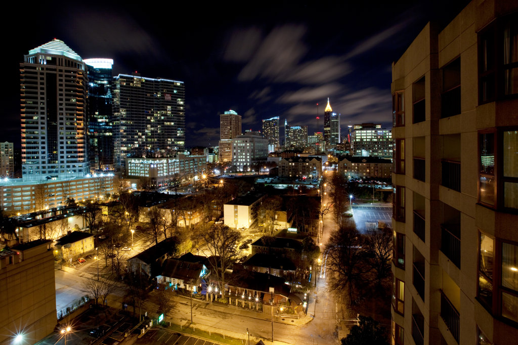Stock Photo: 4017-3203 Midtown Atlanta skyline at night, Atlanta, Georgia, USA