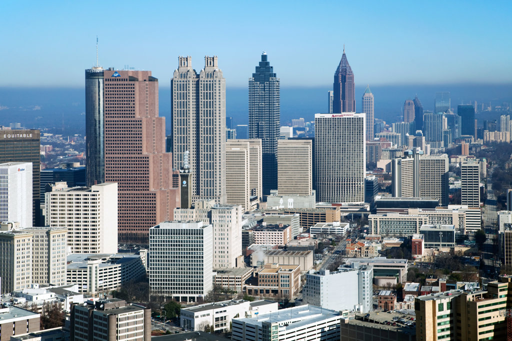 Stock Photo: 4017-3204 Aerial view of the skyline in Downtown Atlanta, Atlanta, Georgia, USA