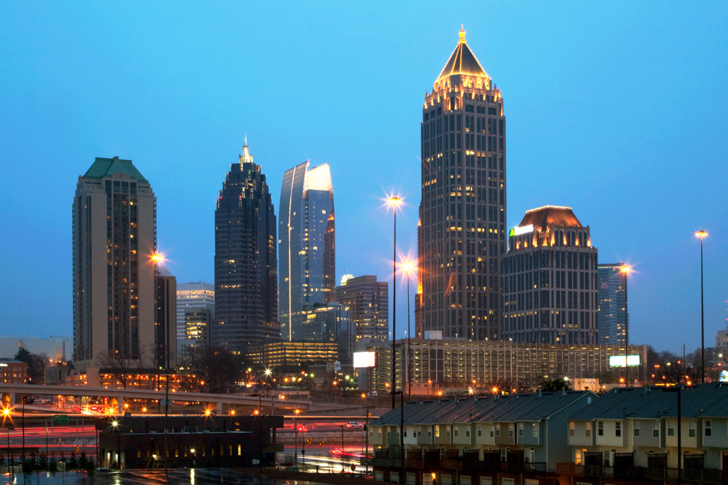 Skyline of Midtown Atlanta at dusk, Atlanta, Georgia, USA : Stock Photo