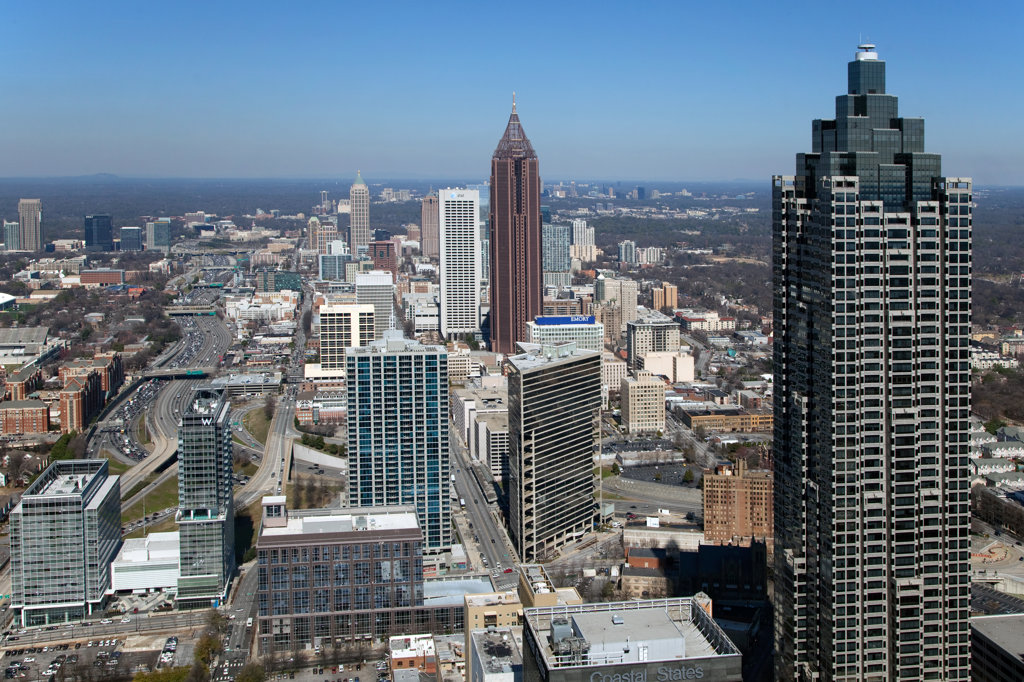 Stock Photo: 4017-3206 Aerial view of Midtown Atlanta skyline, Atlanta, Georgia, USA