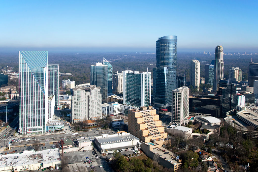 Stock Photo: 4017-3208 Aerial view of the Buckhead skyline, Atlanta, Georgia, USA