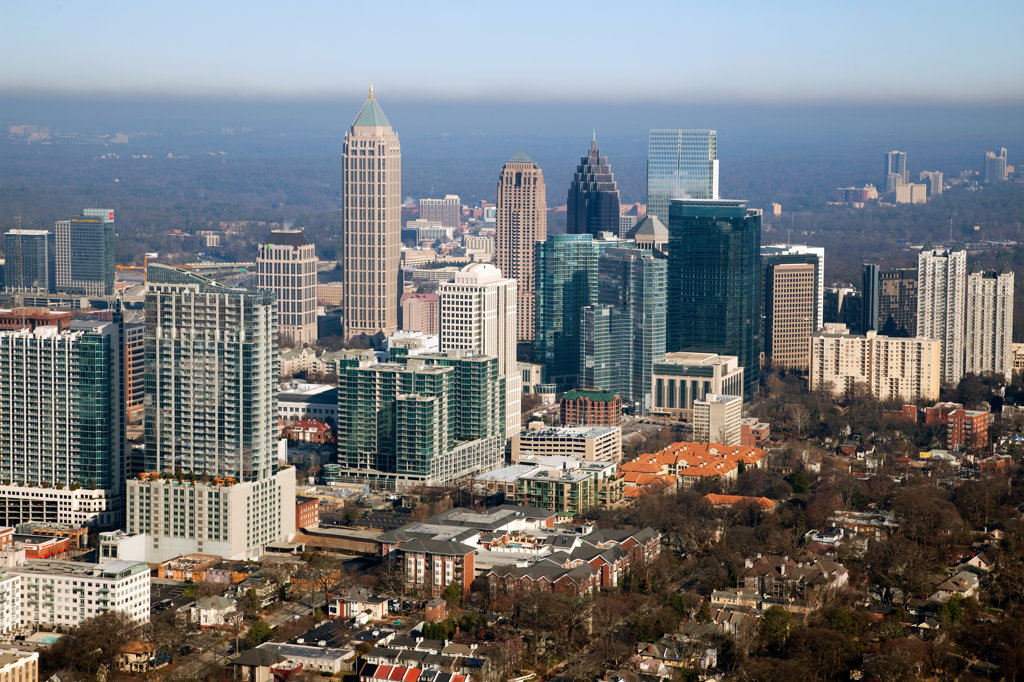 Stock Photo: 4017-3210 Aerial view of Midtown Atlanta skyline, Atlanta, Georgia, USA