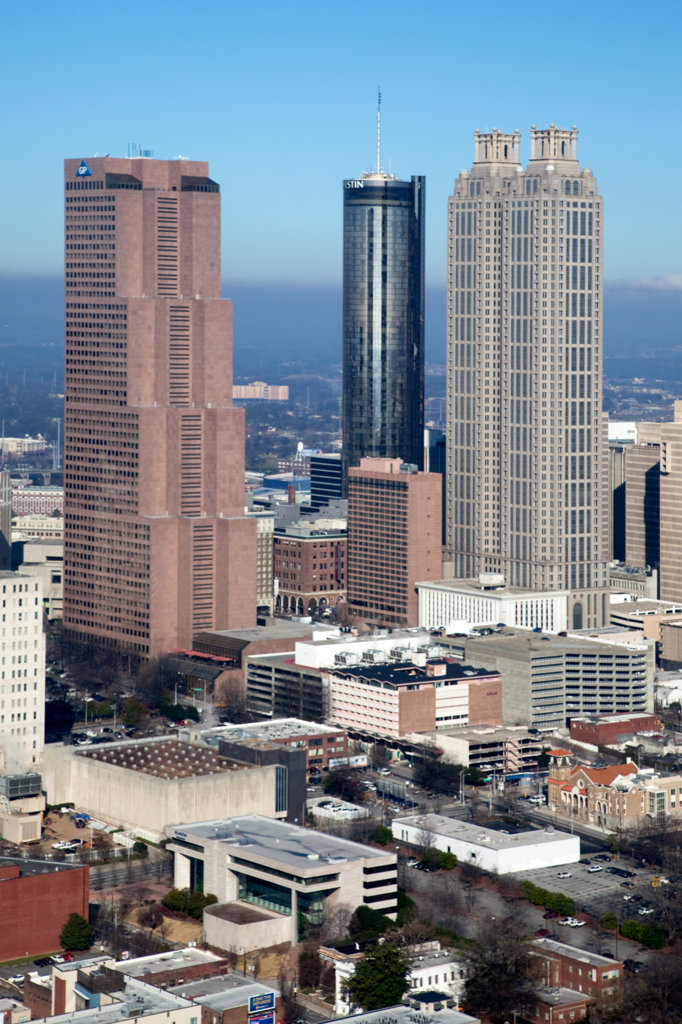 Stock Photo: 4017-3211 Aerial view of skyscrapers in Downtown Atlanta, Atlanta, Georgia, USA
