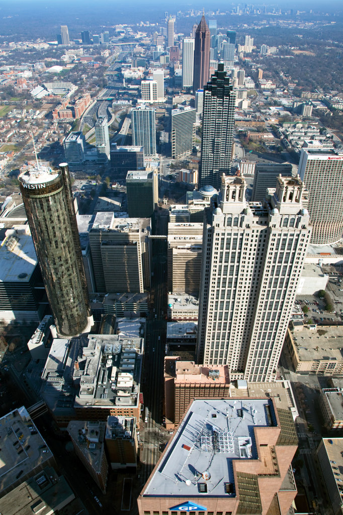 Stock Photo: 4017-3212 Aerial view of skyscrapers in Downtown Atlanta, Atlanta, Georgia, USA
