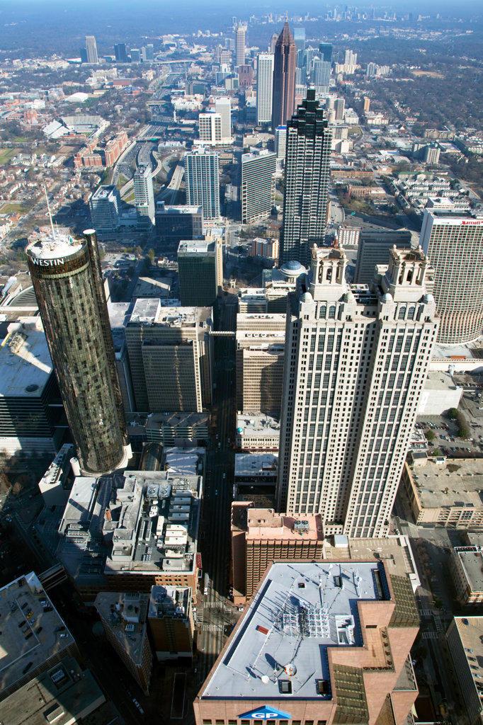 Aerial view of skyscrapers in Downtown Atlanta, Atlanta, Georgia, USA : Stock Photo