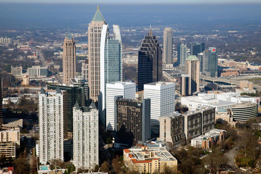 Stock Photo: 4017-3213 Aerial view of Midtown Atlanta skyline, Atlanta, Georgia, USA