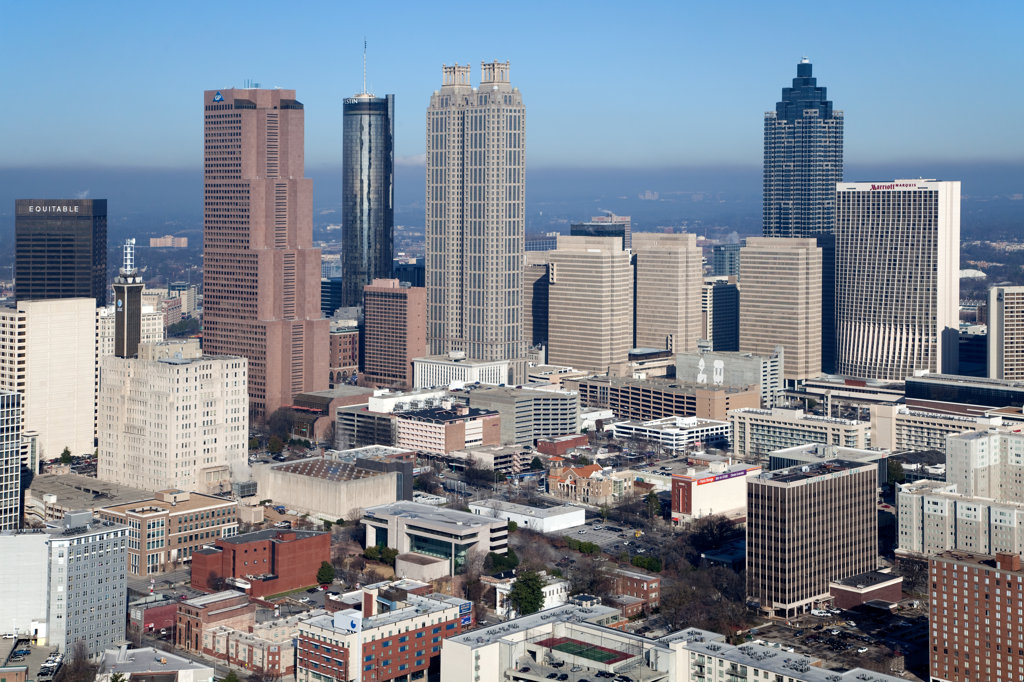 Stock Photo: 4017-3214 Aerial view of the skyline of Downtown Atlanta, Atlanta, Georgia, USA