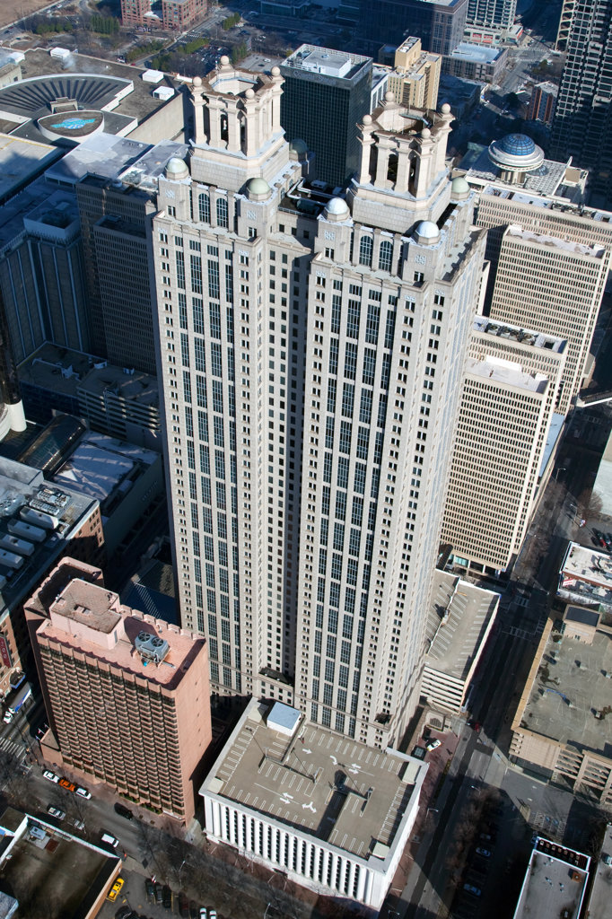 Aerial view of 191 Peachtree Towers in Downtown Atlanta, Atlanta, Georgia, USA : Stock Photo