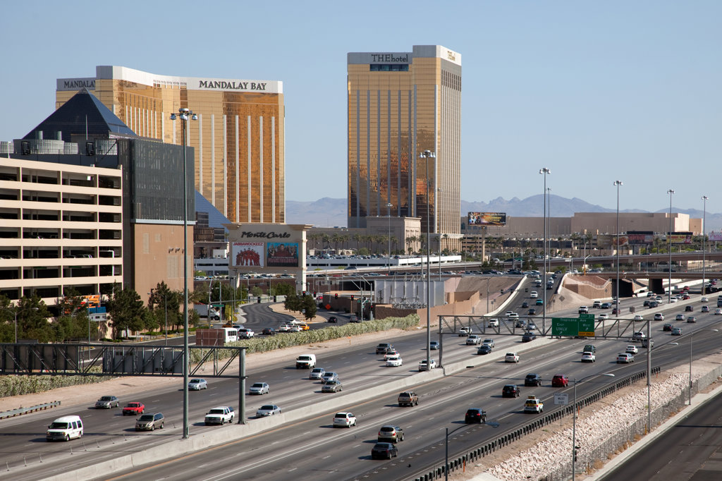 Stock Photo: 4017-3274 Interstate 15 near Las Vegas Strip with Mandalay Bay and Luxor Hotel, Las Vegas, Clark County, Nevada, USA