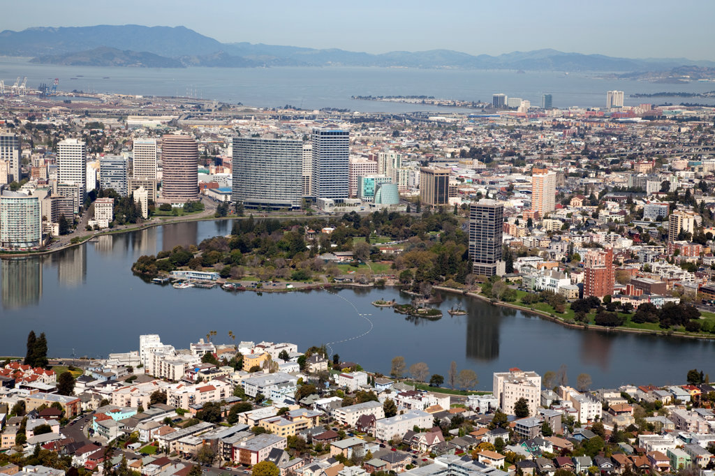 Stock Photo: 4017-3314 Aerial of Cleveland Heights district and Lake Merritt in Oakland, California with the Downtown Skyline and San Francisco Bay in background