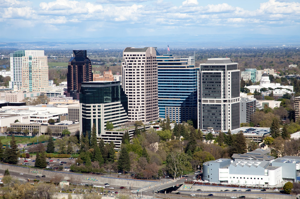 Stock Photo: 4017-3378 Aerial of the Downtown Skyline of Sacramento, California