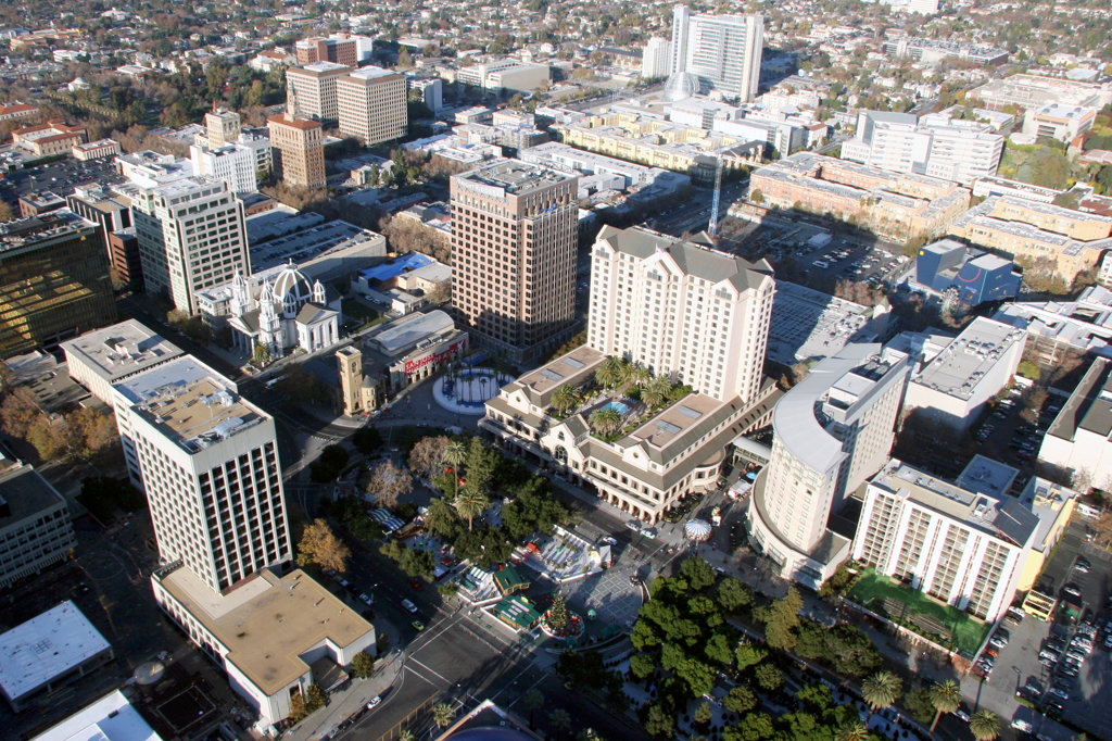 Stock Photo: 4017-3478 Aerial of the Fairmount Hotel in Paseo, San Jose, California