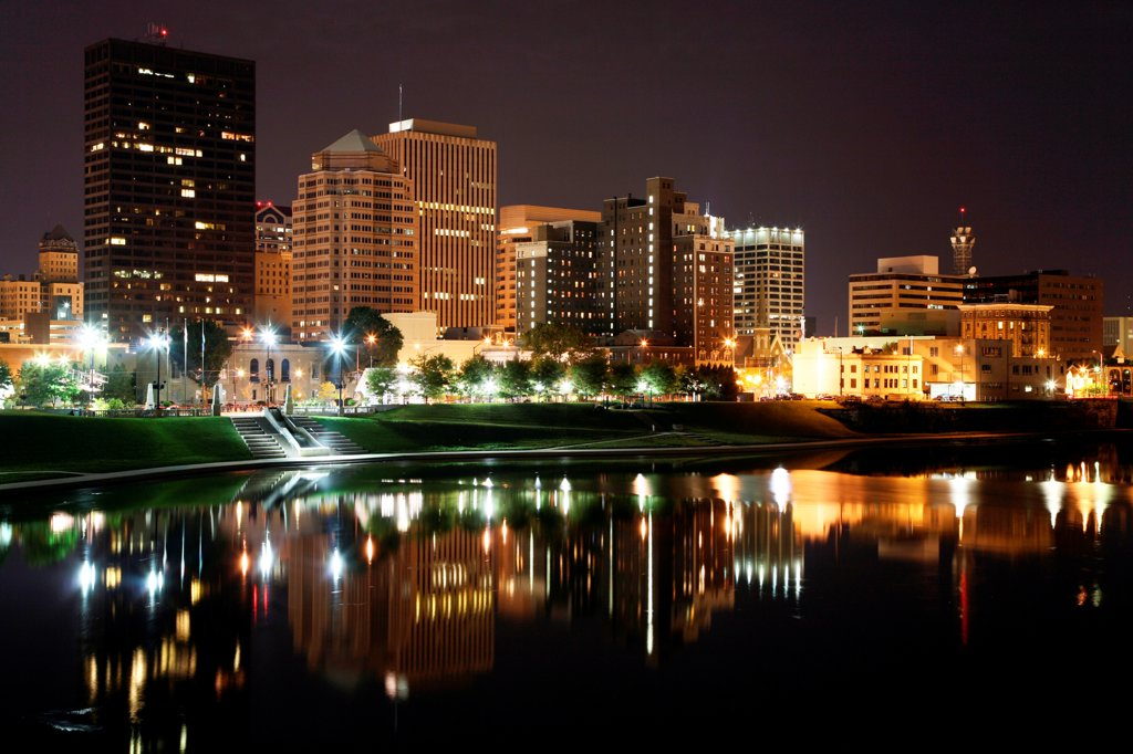 Downtown Dayton, Ohio Skyline from across the Great Miami River at Night : Stock Photo