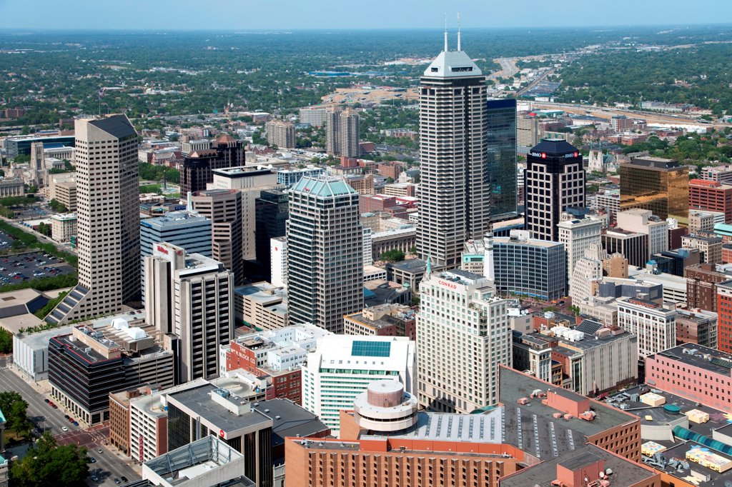 Stock Photo: 4017-3565 Aerial of Downtown Indianapolis, Indiana