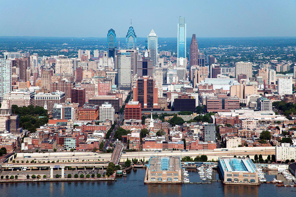 Stock Photo: 4017-3629 Center City Skyline, Philadelphia, Pennsylvania from over the Delaware River