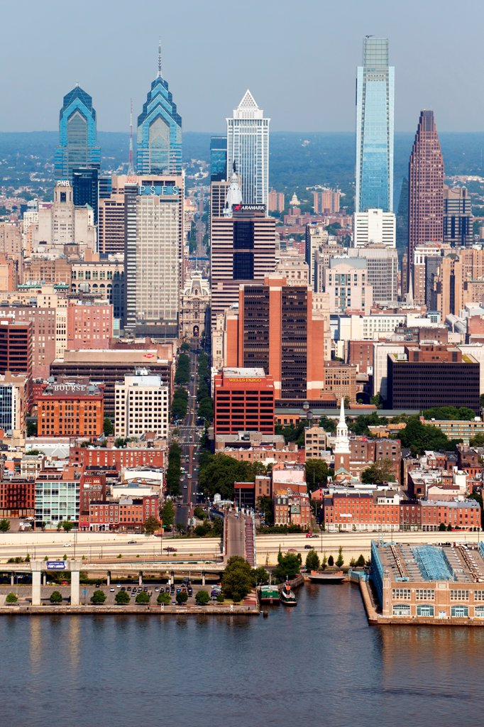 Stock Photo: 4017-3635 Philadelphia, Pennsylvania Skyline from over the Delaware River